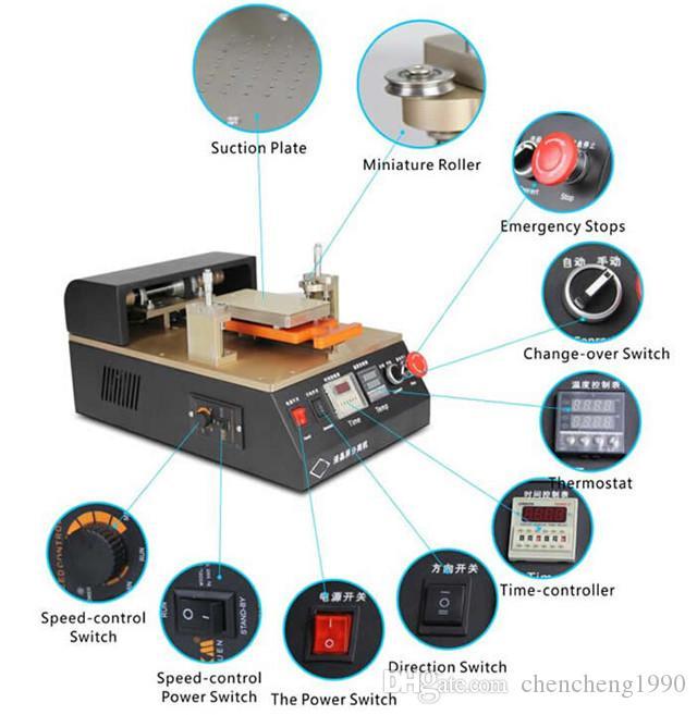 Máquina de reparación de pantalla de cristal automática de aleación de aluminio de 110 V / 220V Máquina de reparación de la pantalla de la pantalla del separador de vidrio incorporada para iPhone 6 6S S6 DHL gratis