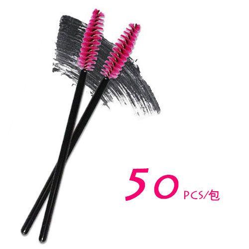 2015 Yeni 50 adet / grup makyaj fırça Pembe sentetik elyaf One-Off Tek Kullanımlık Kirpik Fırçası Maskara Aplikatör Değnek Fırça iyi anlaşma DHL ücretsiz