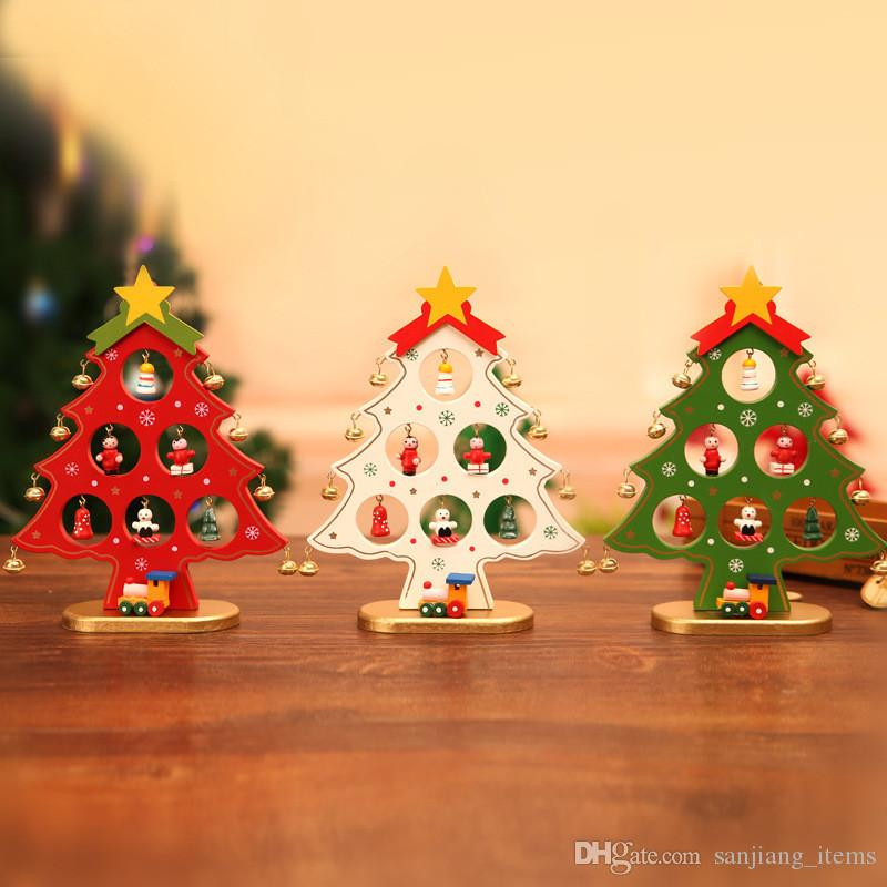 28*21cm 23*17cm DIY Mini Desktop Christmas Tree Ornaments Cute Wooden Top  Star Bells Craft Xmas Tree For Festival Party Christmas Decorations For  Kids ... - 28*21cm 23*17cm DIY Mini Desktop Christmas Tree Ornaments Cute