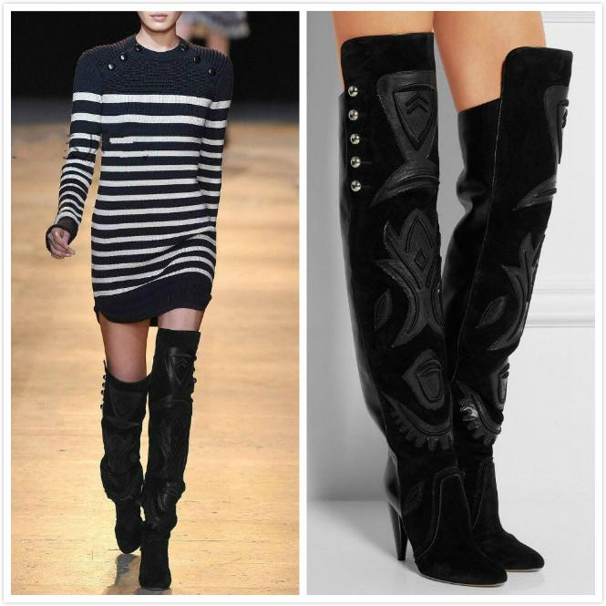 07127236f4673 2016 High Quality Handmade Black Suede Rivet Ladies Long Boots Mosaic Spike  Heel High Heel Pointed Toe Woman Over The Knee Boots Boots For Women Black  Boots ...