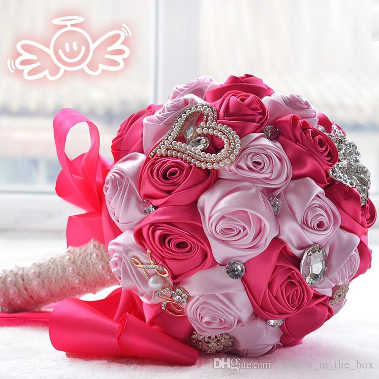 Romantic Silk Rose Bouquets Wedding Bridal Bouquet Crystal Brooch ...