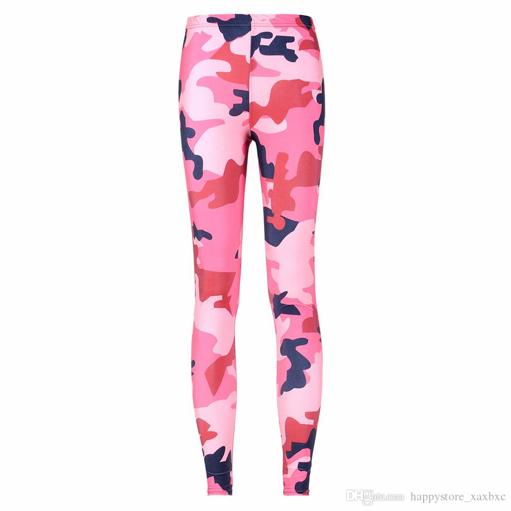 bf955e3b3c2 2019 2017 NEW 3085 Pink Plum Camouflage CAMO Pirate Prints Sexy Girl Pencil  Yoga Pants GYM Fitness Workout Polyester Women Leggings Plus Size From ...