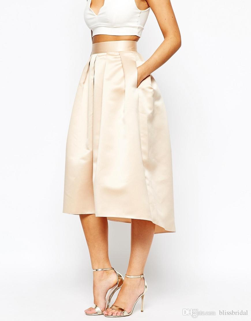 الأزياء الشمبانيا تنورة الحرير منتفخ ألف خط حزب فساتين عالية منخفضة طول الركبة النساء التنانير الرسمية 2016 مخصص الحفلة الراقصة