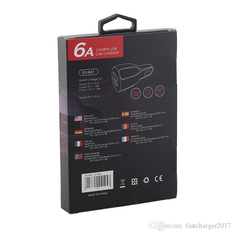 Caricabatteria da auto Samsung s7 s8 note 8 Dual porte USB Bianco Nero QC 3.0 caricabatteria da auto iphone ipad con scatola al minuto + cavo