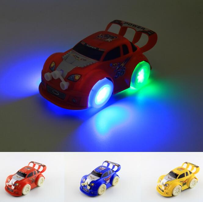 online cheap led car toys led lighted toys cute cars kids christmas gift race car model lighting play music luminous automatic steering car model toys by