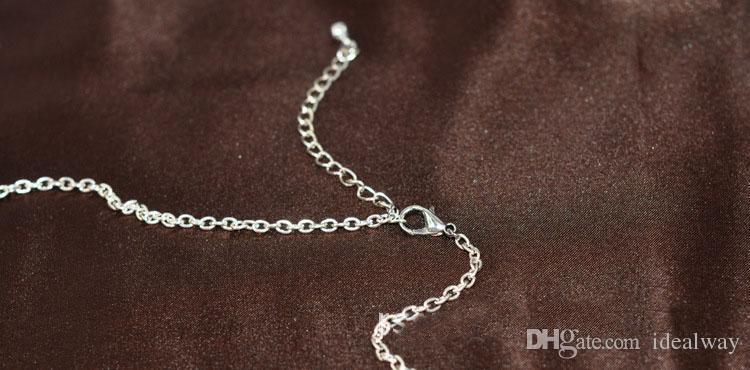 البوهيمي أسلوب الفضة مطلي سبيكة القمر شكل حجر الراين الأزرق الخرز المعدنية القلائد شرابة طويلة