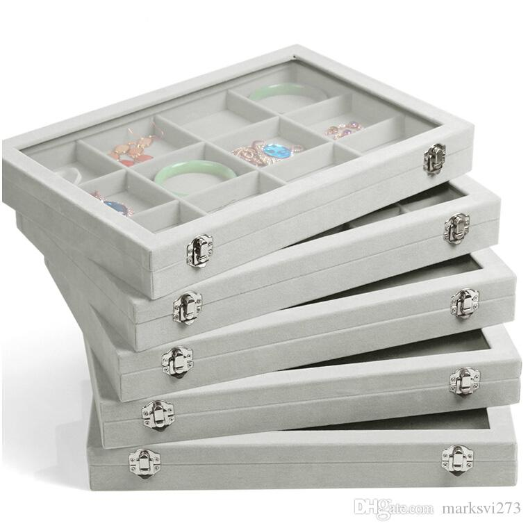 2019 Ice Gray Velvet Jewelry Tray Glass Lid Jewelry Boxes Ring Tray