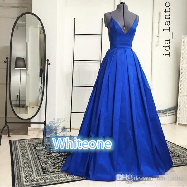 Ida Lanto Royal Blue Prom Dresses Spaghetti Straps V Neck Open Back Floor Long 2016 Real Photos Evening Event Wears Special Occasion Gowns