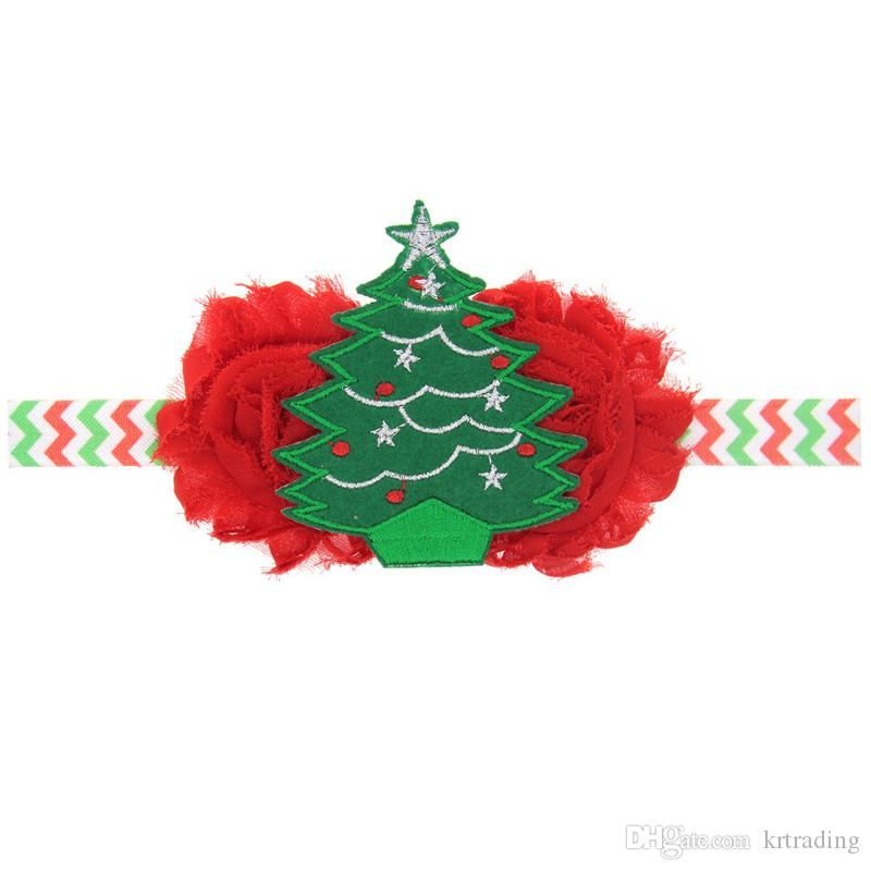 Girls Christmas embroidery headband elastic wave stripe hairband lace flower Xmas Tree patched headwear kids festivals hair accessory