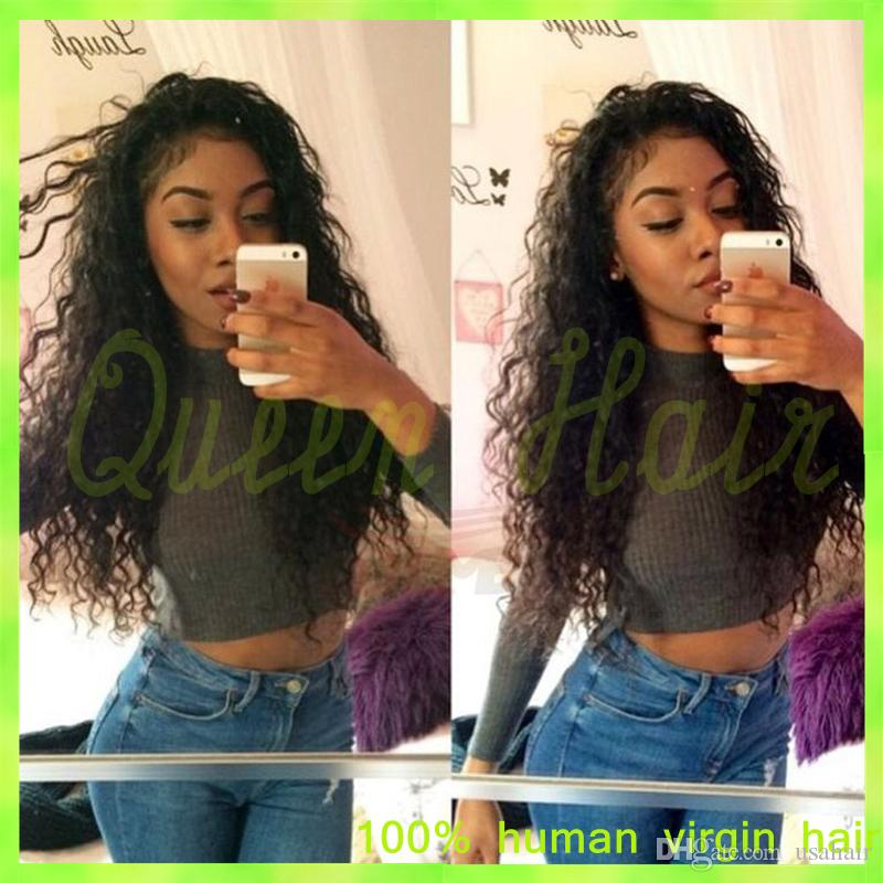 Virgin Brazilian Full Lace Human Hair Wigs Glueless Deep Curly Full Lace & Lace Front Wig Bleached Knots With Baby Hair For Sale