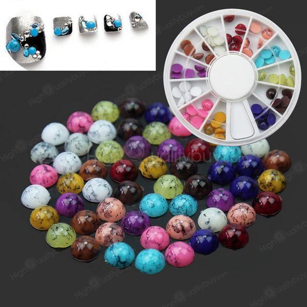 Hot Fashion 3d Colorful Turquoise Gemstone Nail Art Tips Decoration