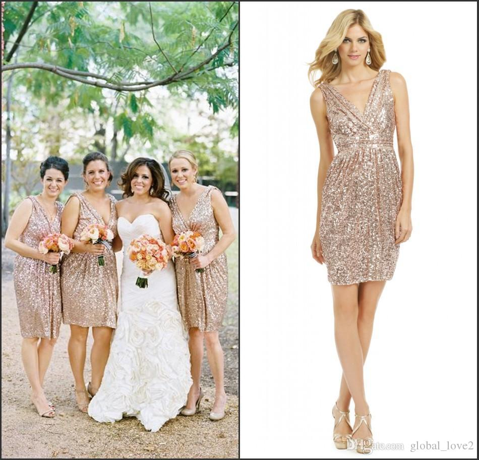 Sparkly Bridesmaids Dress Cheap Sequined Rose Gold Dresses V Neck Short Casual Bridesmaid New Fashion Plus Size Colors