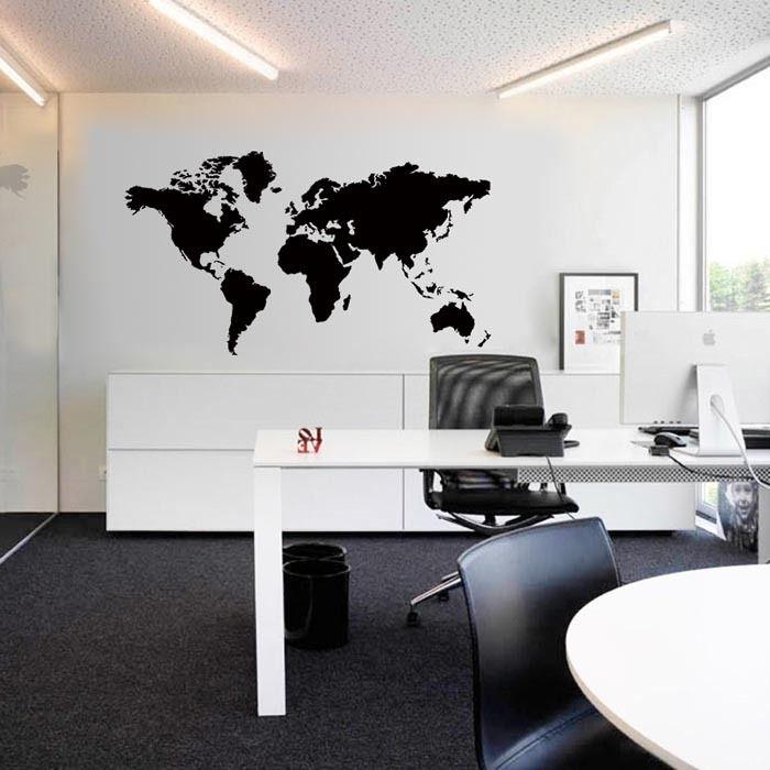 Carved Big Global World Map Wall Sticker Atlas Vinyl Wall Art - Wall decals map