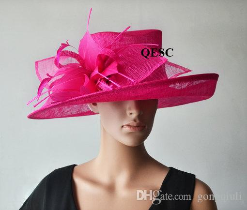 Hot Pink Fuchsia WIDE Brim Ladies Hat Church Hat Sinamay Hat For Kentucky  Derby a0da958f458