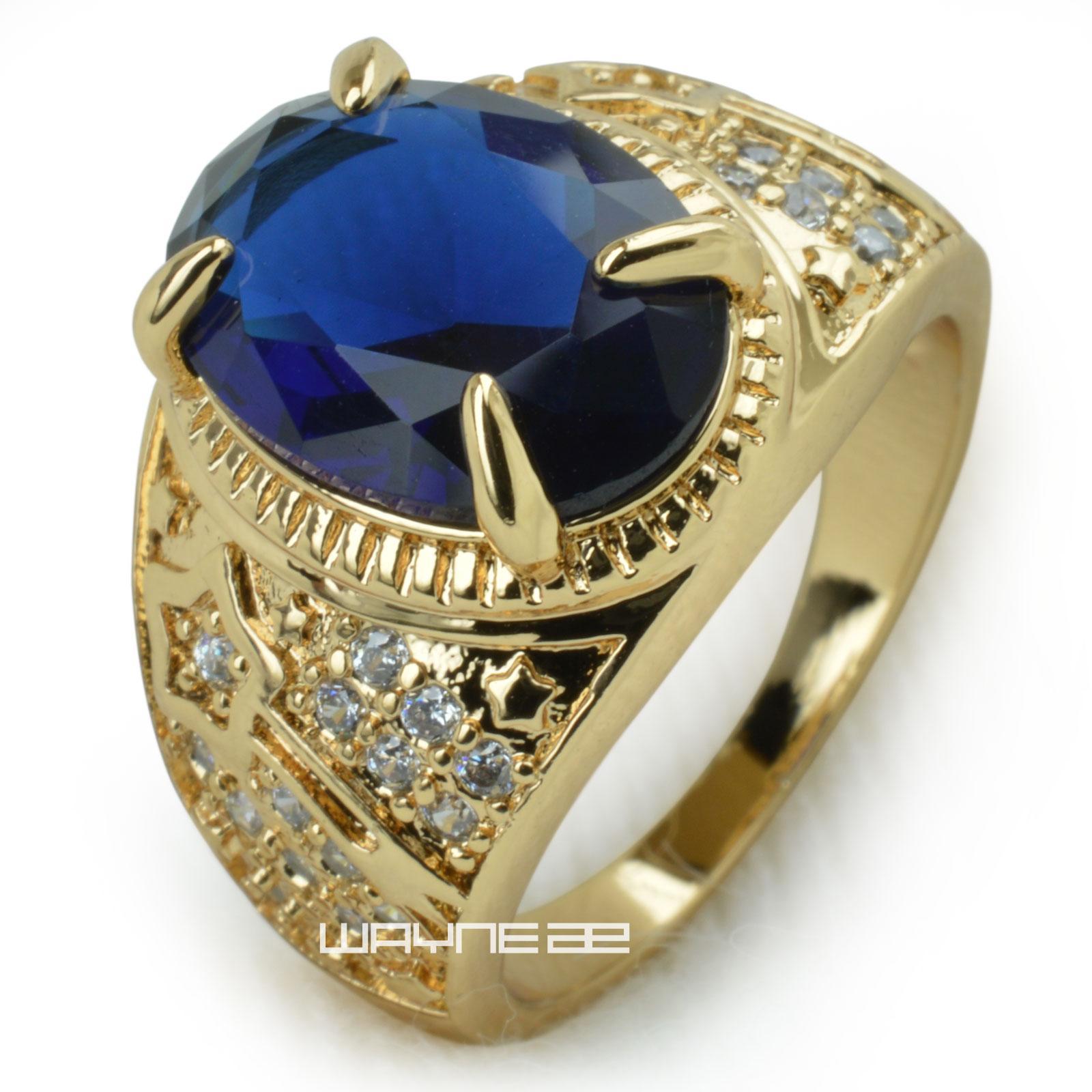 18K Gold GF Solid Men Engagement Trouwring Blauwe Steen R283 SZ 8 9 10 11 12 13 14 15