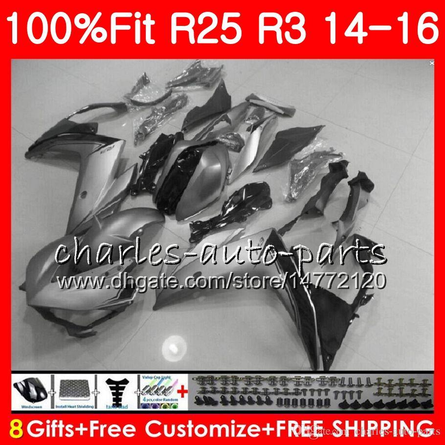 Injection Body For YAMAHA YZF R 3 YZF-R3 YZF-R25 R25 14 15 16 Glossy grey Cowling 83NO20 R 3 YZFR3 YZFR25 R 25 R3 2014 2015 2016 Fairing Kit
