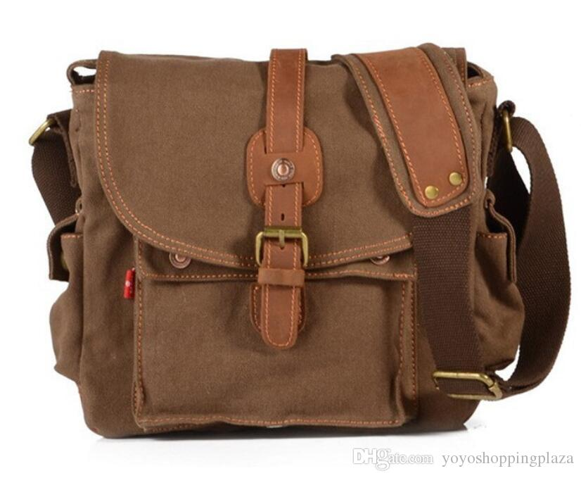 3b6143094b 2019 Men Bags Vintage Canvas Leather Satchel School Shoulder Backpacks  Messenger Bag Outdoor Bags Outdoor Backpack From Yoyoshoppingplaza