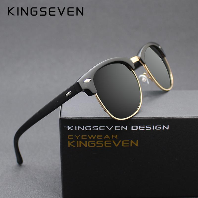 Compre Kingseven 2016 Novos Óculos Polarizados Homens   Mulheres Retro  Rebite De Alta Qualidade Lente Polaroid Design De Marca Óculos De Sol  Feminino Oculos ... c6d0cef628