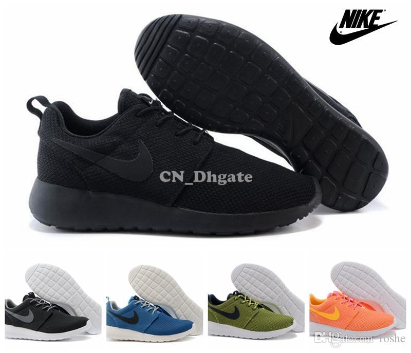 best sneakers 5a07e 35292 New 2015 Nike Roshe Run All Black Pink Olive Blue Grey Multi Colors Women  Men Running Shoes, Cheap Roshes Run Sport Trainers 36 45 Mens Sneakers  Cheap Shoes ...