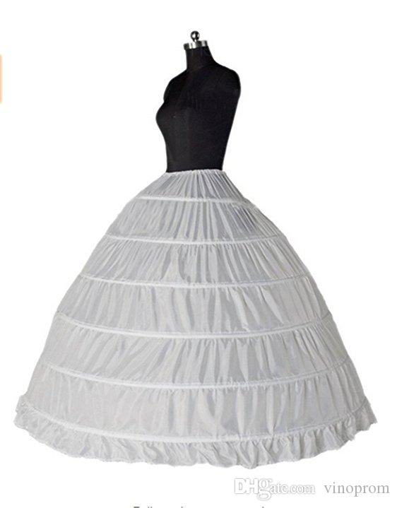 Spedizione gratuita Ball Gown 6 Hoops Crinoline Slips Underskirt Lunghezza del pavimento Sottoveste Accessori da sposa da sposa 2018