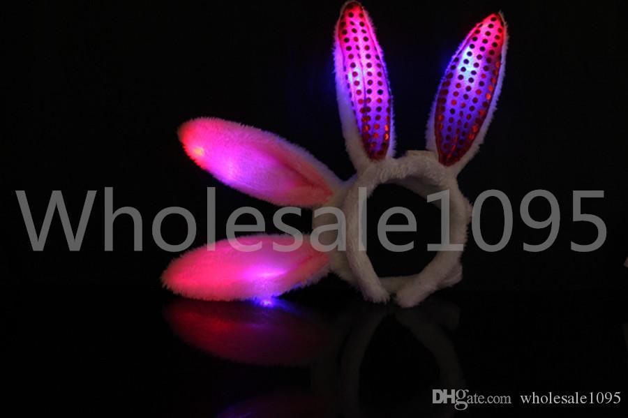 Orecchie di coniglio luminose Orecchie di coniglio della peluche delle orecchie di coniglio della peluche di / LED LED Giocattoli di Natale