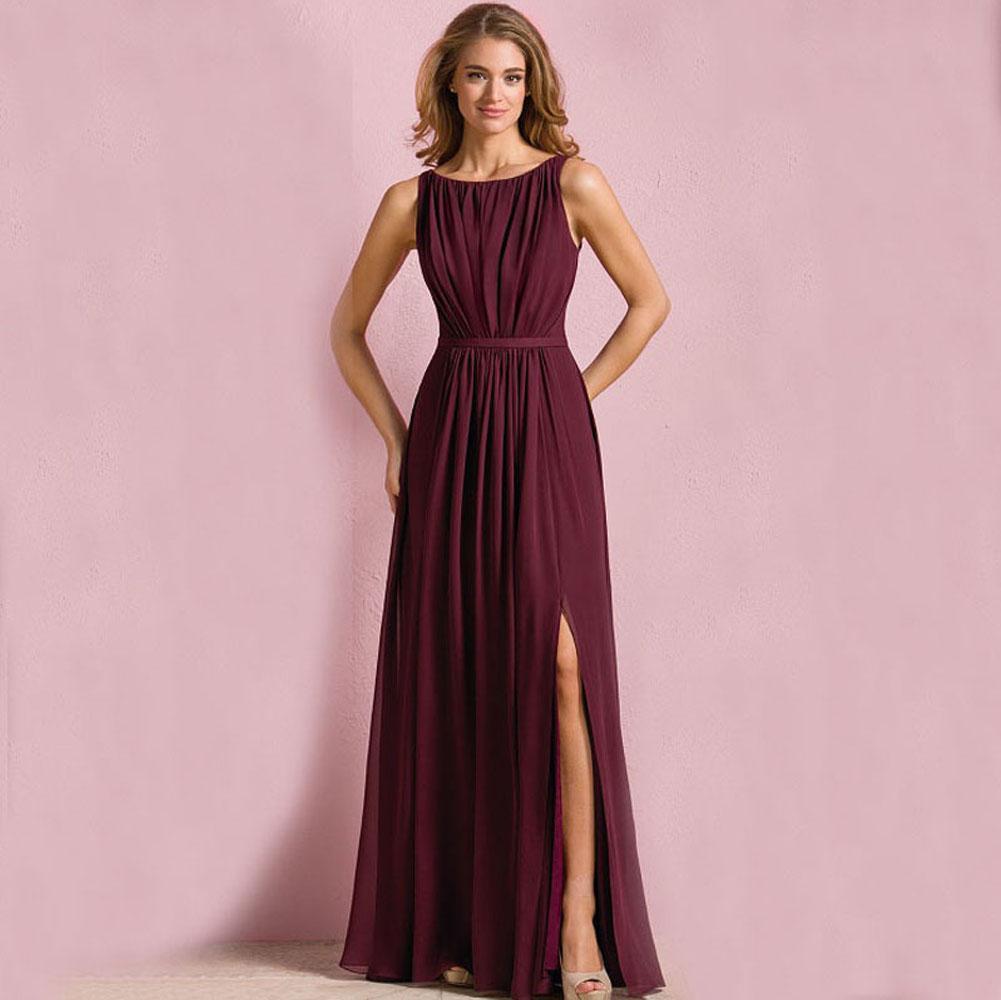 Compre Vino Rojo Largas Damas De Honor Vestidos Baratos Vestido De ...