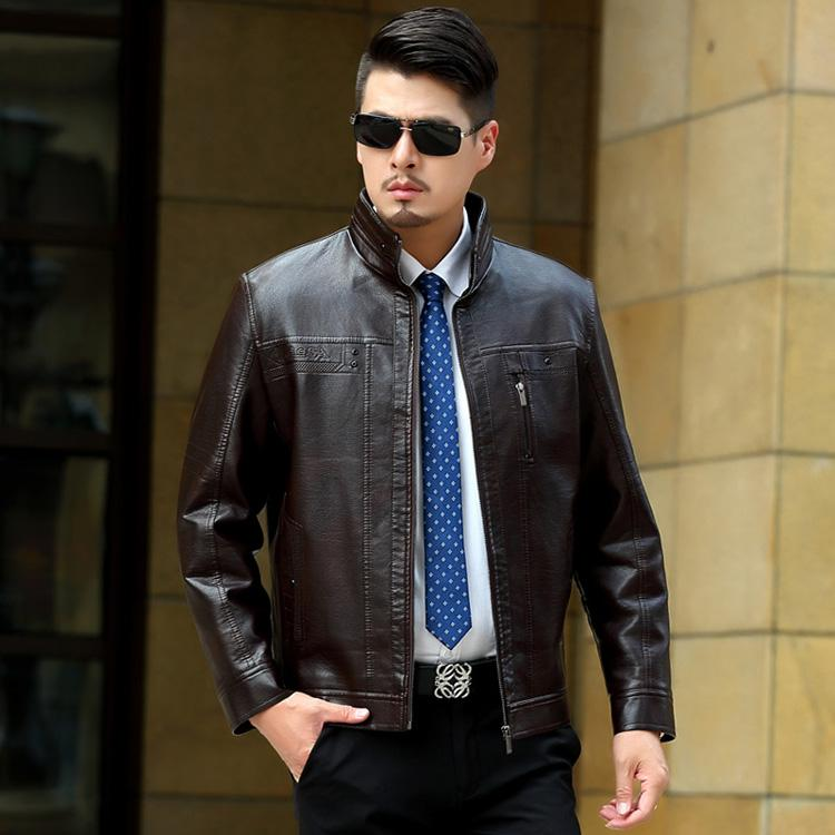 Autumn Mens Slim Fit Leather Jacket Fashion Casual Leather Coat