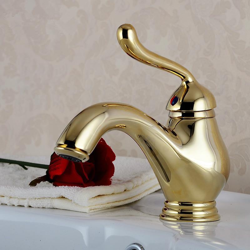 Golden Bathroom Faucet Lavatory Vessel Basin Sink Faucet Mixer Tap Water Faucets Single Handle Lamp Style
