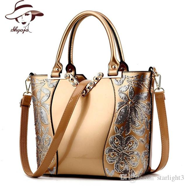 a4af11788e 2018 Luxury Sequin Embroidery Women Bag Patent Leather Handbag Diamond  Shoulder Messenger Bags Famous Brand Designer Bolso Mujer Leather Backpack  Purse ...