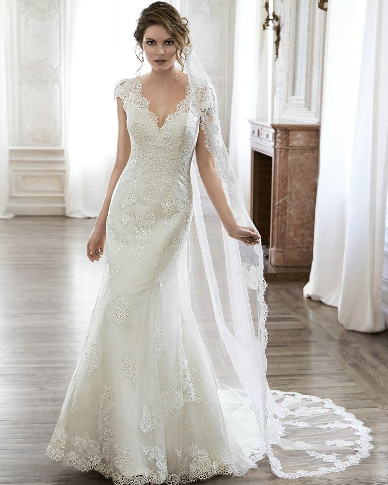 Bell Sleeve Wedding Dresses V Low Back Wending Dress Cap Sleeves 2016 Elegant Custom Vintage Style Gowns Robe De Marie Bm18 Cream