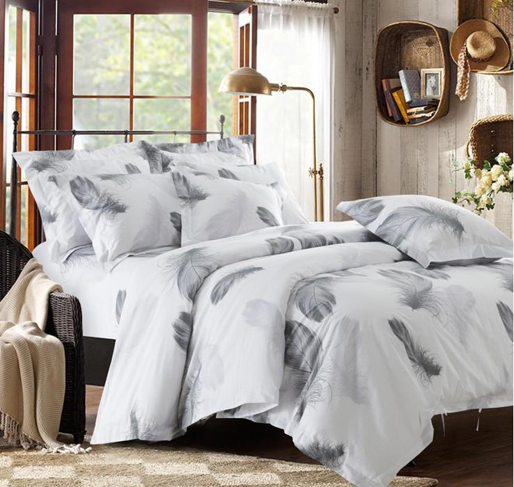 Black And White Bedding Set Feather Duvet Cover Queen King Size ... : feather quilt - Adamdwight.com