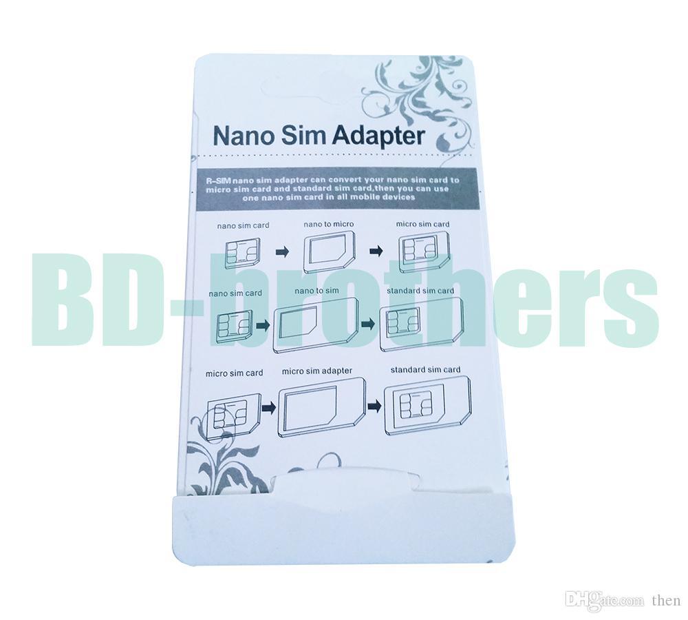 نوعية جيدة 4 في 1 محول بطاقة نانو سيم ، محول سيم الصغير مع Eject Pin Key Black ل iPhone4 / 4S / 5