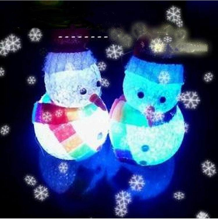 2017 Hat Scarf Crystal Colorful Small Led Night Light Snowman