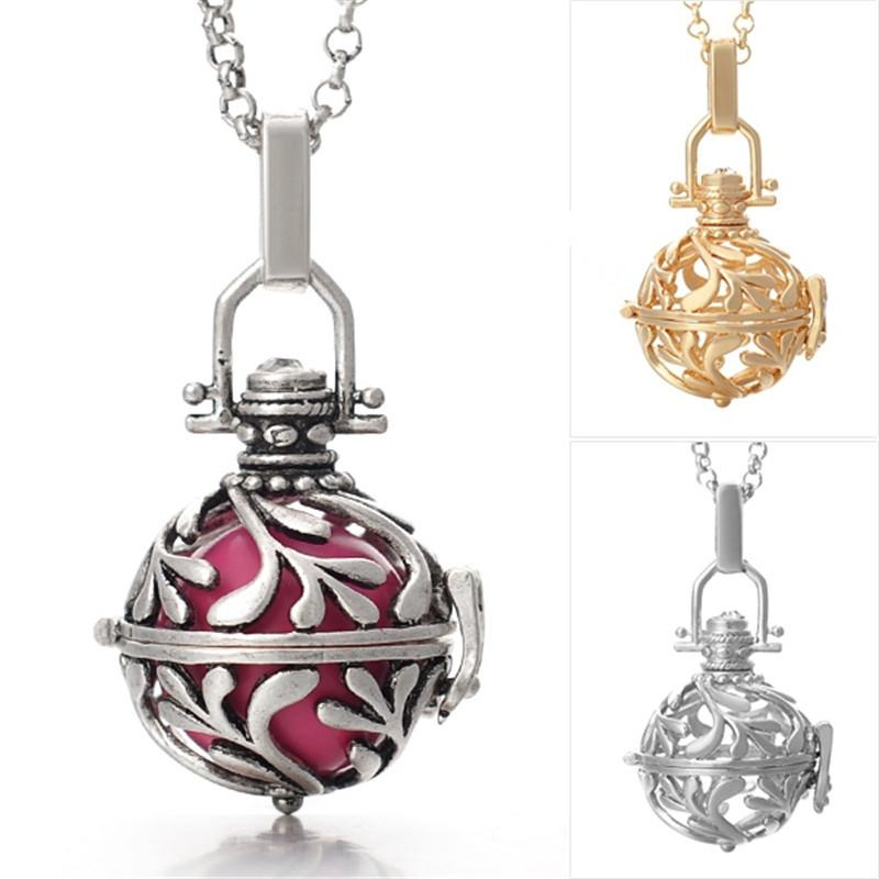 sterling silver plated harmony bola ball locket pendant ball pregnant Aquatic necklace sweater chain Hollow woman necklaces