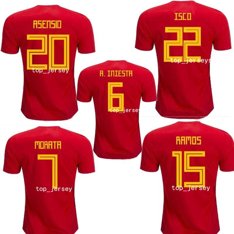 Camiseta De La Copa Del Mundo De Nueva España 2018 INIESTA RAMOS Camiseta  Roja De Asensio COSTA SILVA ISCO Camiseta De Fútbol De Calidad Superior De  España ... e25e2c087a95e