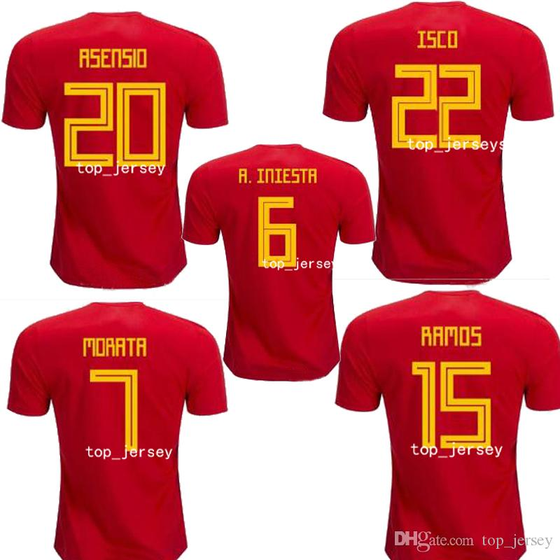 b9a5c8b157821 Nueva Camiseta De La Copa Del Mundo De España De 2018 INIESTA RAMOS ...