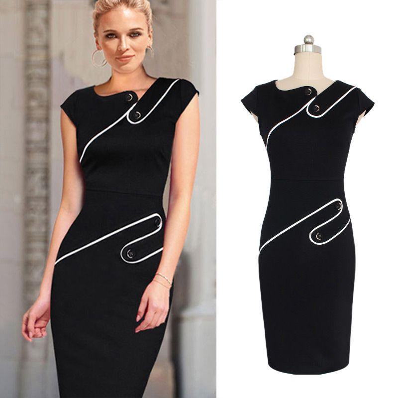 e3f26797e362 Satın Al Siyah Ve Beyaz Bayanlar Elbise Zarif Renk Kalem Etek Avrupa Ve  Amerika Için Marka Elbise Moda Iş Elbiseleri Womens Için