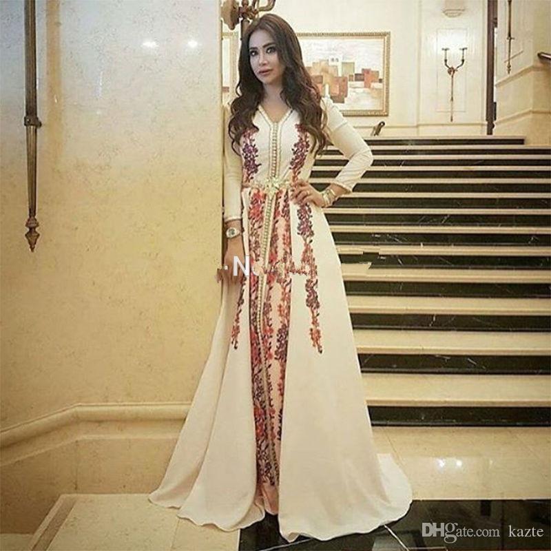 Elegant Muslim Evening Dress Moroccan Kaftan Robe De Soiree Dubai Lace Applique Formal Dress Long Sleeve Women Party Gowns
