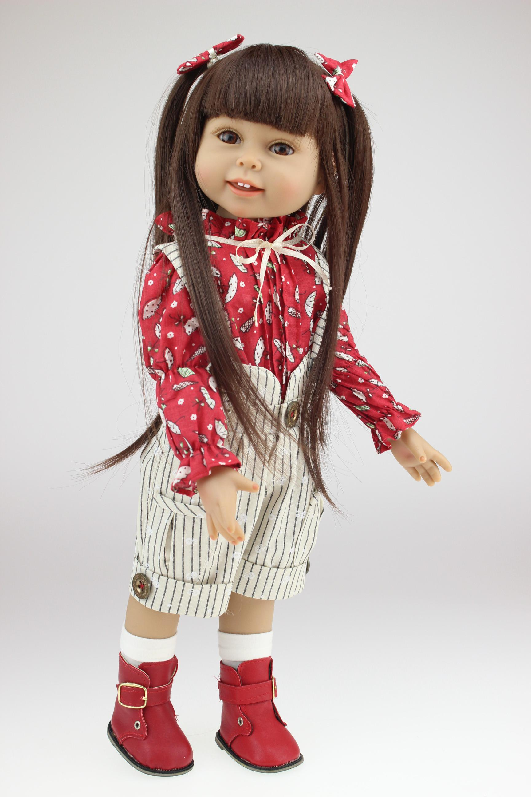 18 inch full vinyl american girl doll realistic little girl dolls toys and high end gifts in brown long hair cheap doll clothes for 18 inch dolls china - Ameeican Girl Doll