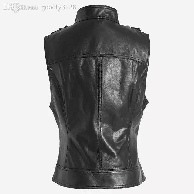 Black sleeveless leather jacket