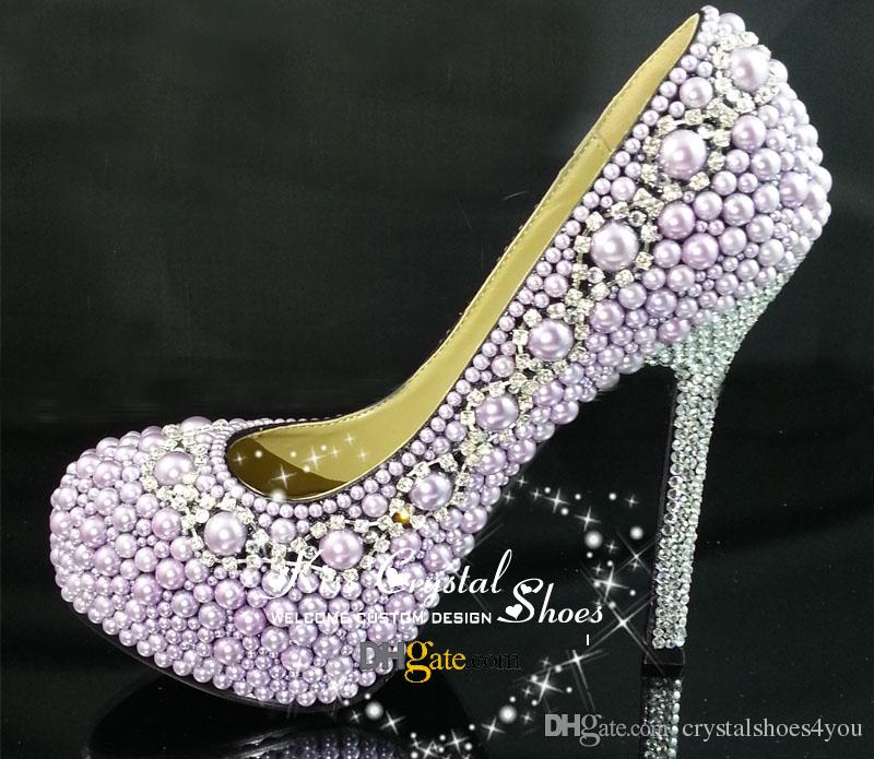 Women High Heels Purple Wedding Shoes With Pearls And Silver ...