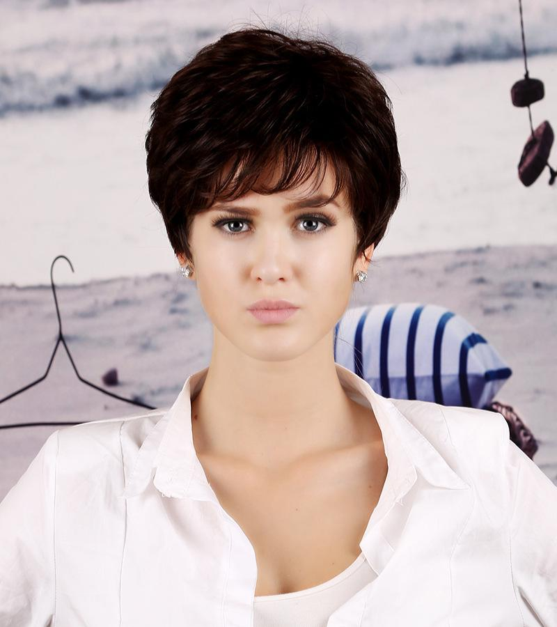 Smart Style Shaggy-haired Dark Brown Short Curly Female Heat Resistant Kanekalon Synthethic Natural Hair Wigs