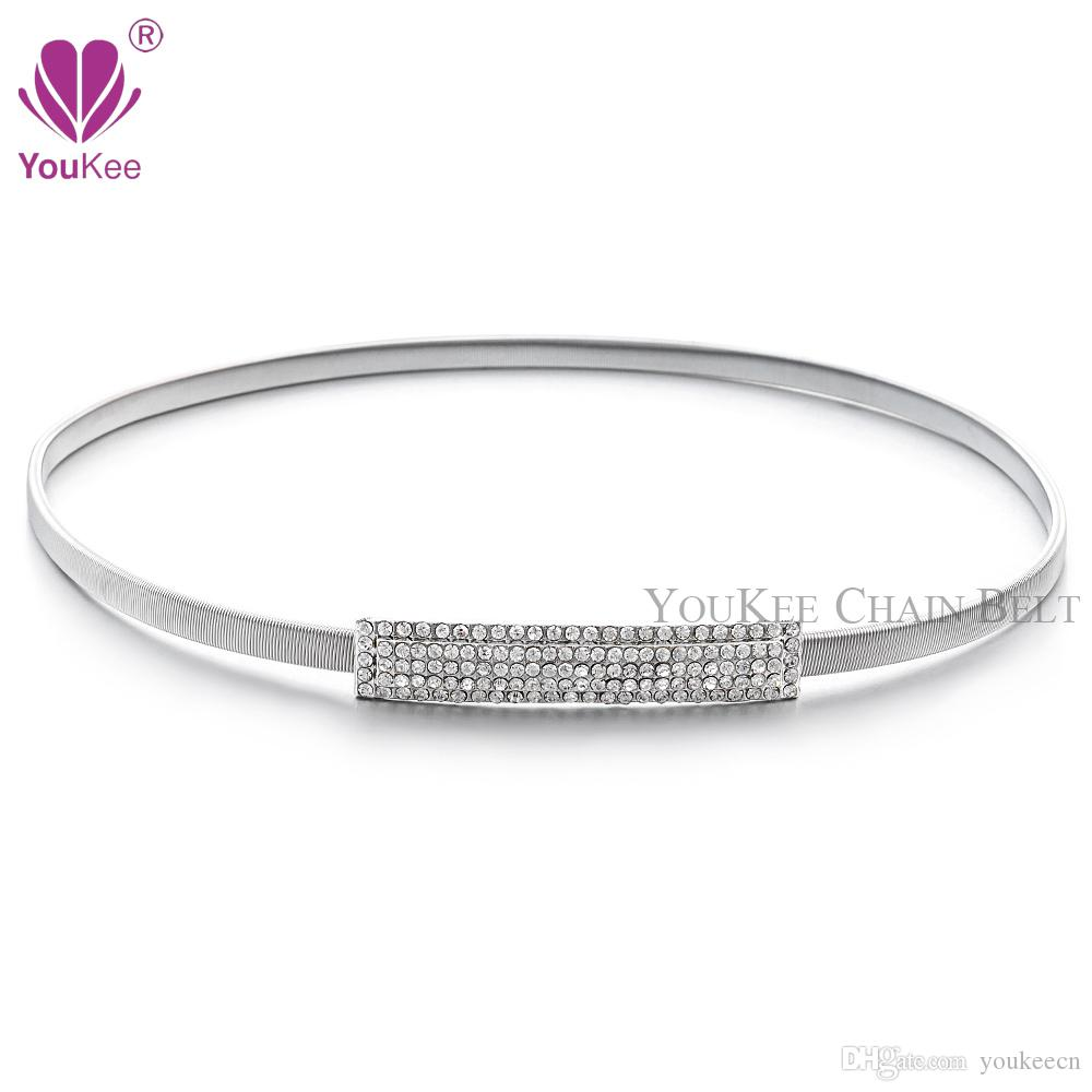 Full Rhinestone Elastic Belt For Women Silver Plated ...