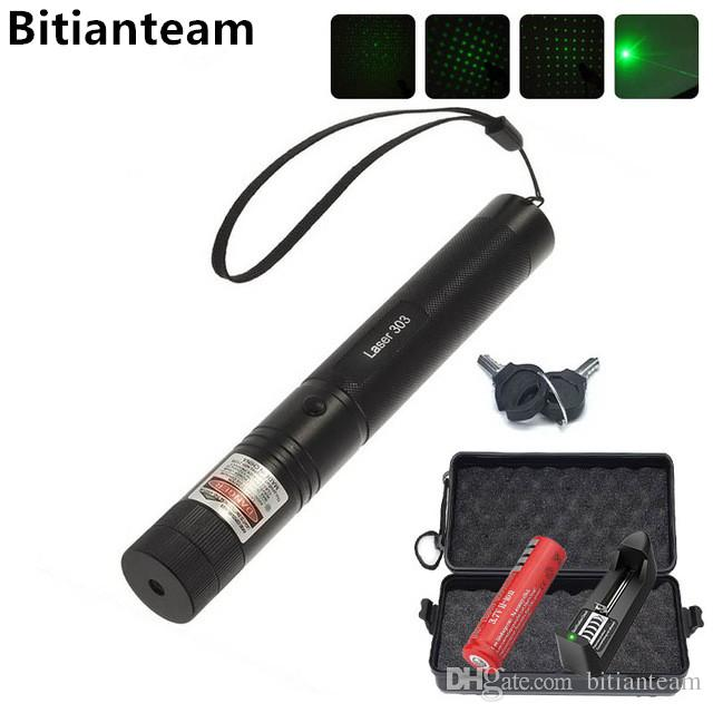 Professional Powerful 303 Green Laser Pointer Pen Laser Light With 18650 Battery,Retail Box Adjustable Focus