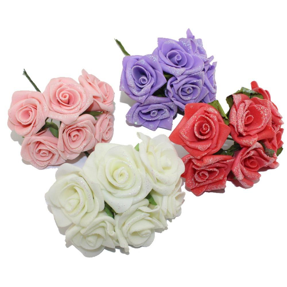 Free shipping4 45cm head multicolor pe foam glitter flower bouquet free shipping4 45cm head multicolor pe foam glitter flower bouquet with organza single color artificial rose flower bouquet jewels flower in glass tube izmirmasajfo