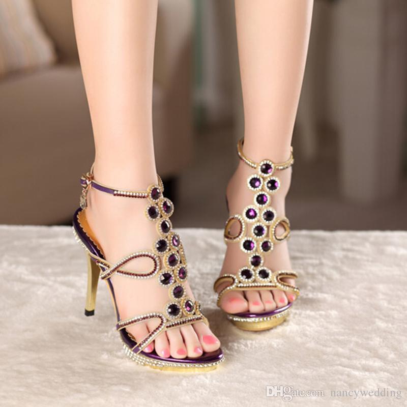 Nuevo modelo de moda fiesta de las mujeres de baile de tacón alto sandalias de diamantes de imitación zapatos de vestir de boda de cuero genuino para mujer zapatos de verano púrpura