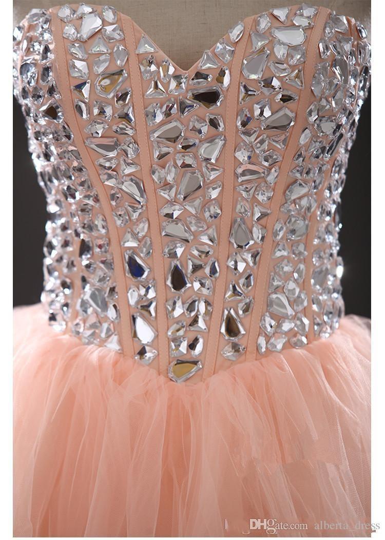 Party Pressing Ball Jown Aweetheart Crystal Crystal Craped Cocktail Платья Cheap Crop Prom Homecoming Танцевальная вечеринка Платья Mini Свадебные платья