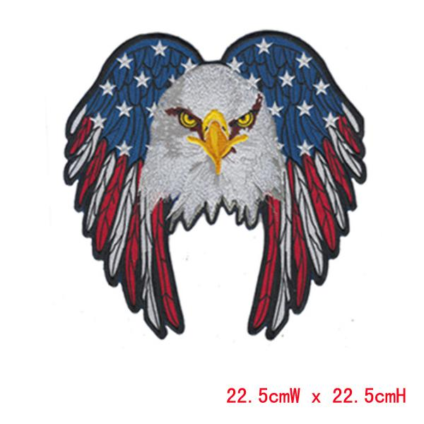 Beautiful big size eagle professional computer embroidery patch&badge hot cut border Iron on accept customised