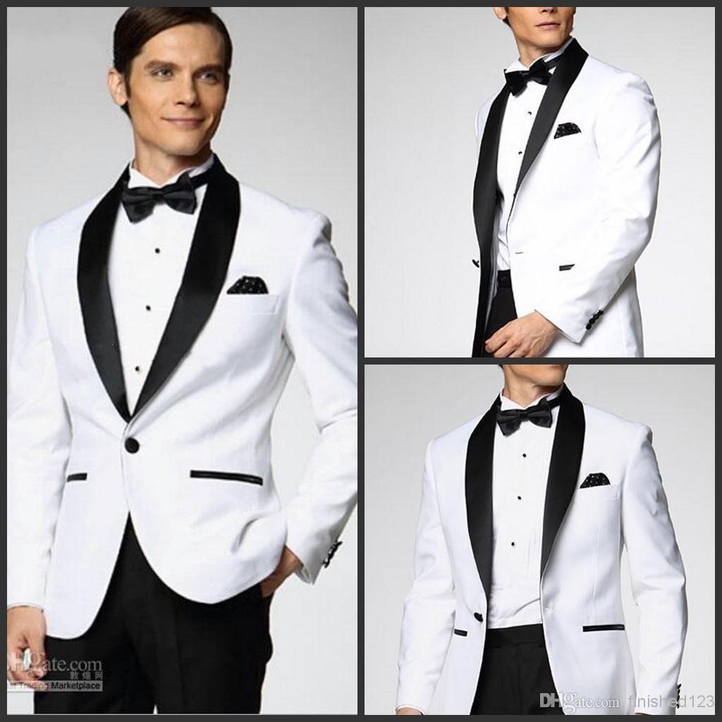 New White Coat And Black Satin Lapels Wedding Dress The Groom ...