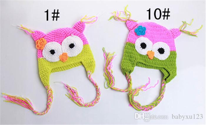 best price crochet hats for kids Baby hand knitting owls hat Knitted hat Children's Caps D401